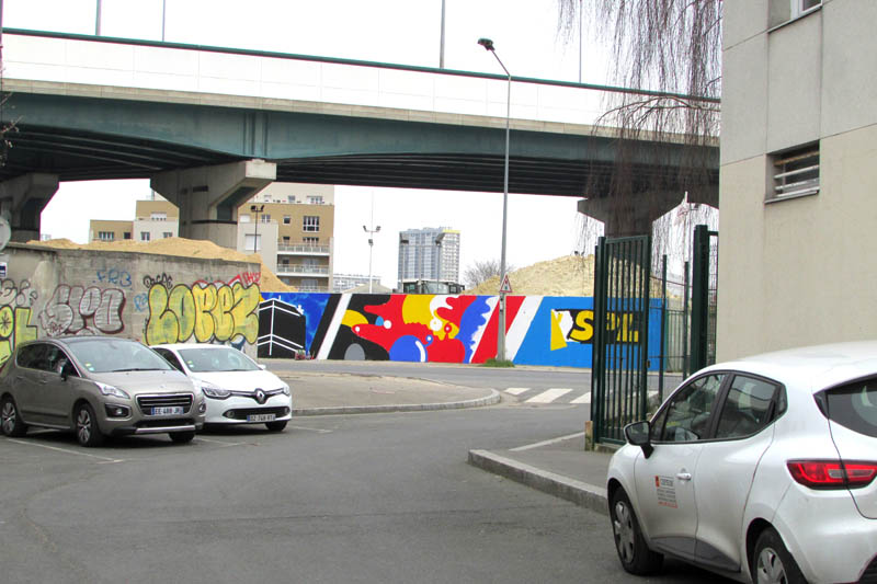 Honet, Jean Moderne RCF1 graffiti street art wall aubervilliers stade de france - street art paris
